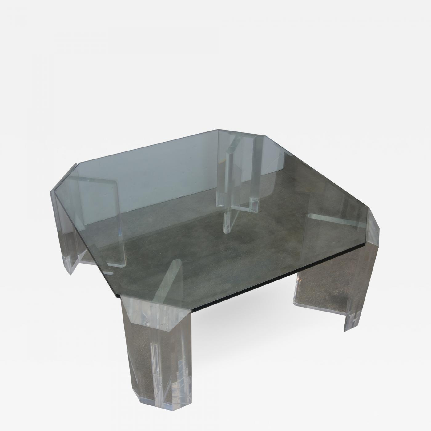 Charles Hollis Jones Lucite And Glass Square Cocktail Table