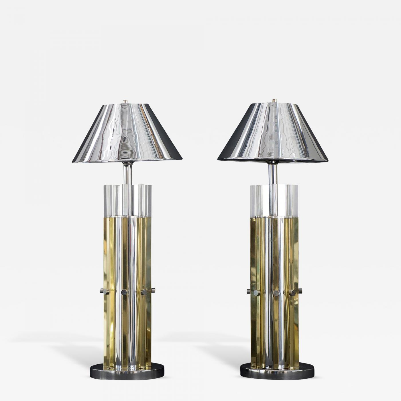 Charles hollis jones mid century modern pair of brass chrome listings furniture lighting table lamps geotapseo Images
