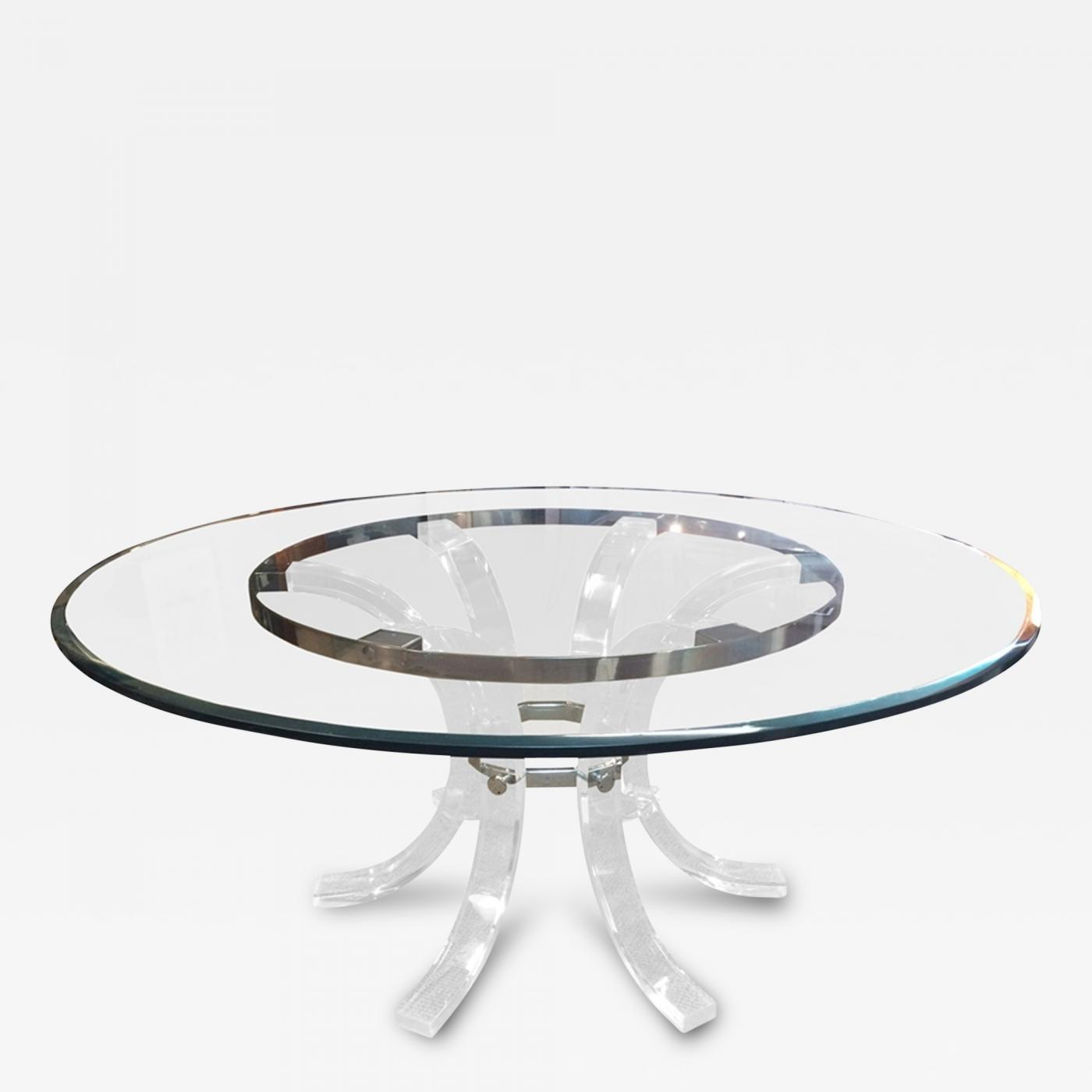 charles hollis jones round lucite chrome dining table for 8 by