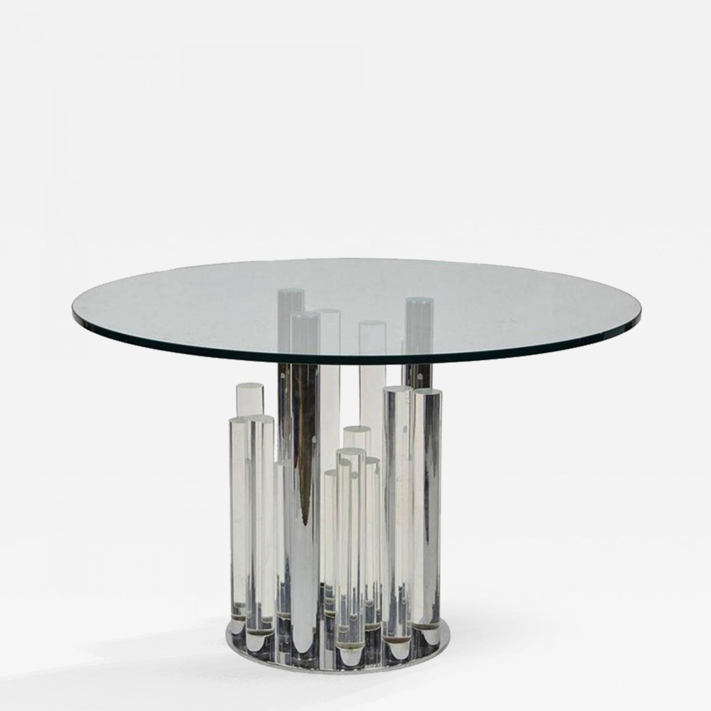 charles hollis jones skyscraper dining center table in lucite