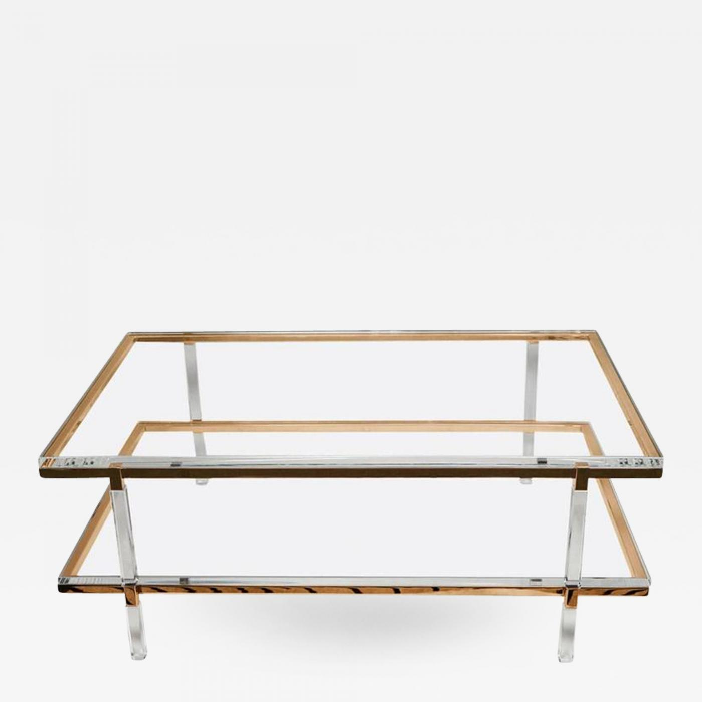 Charles Hollis Jones TwoTier Coffee Table In Lucite Polished - Two level coffee table