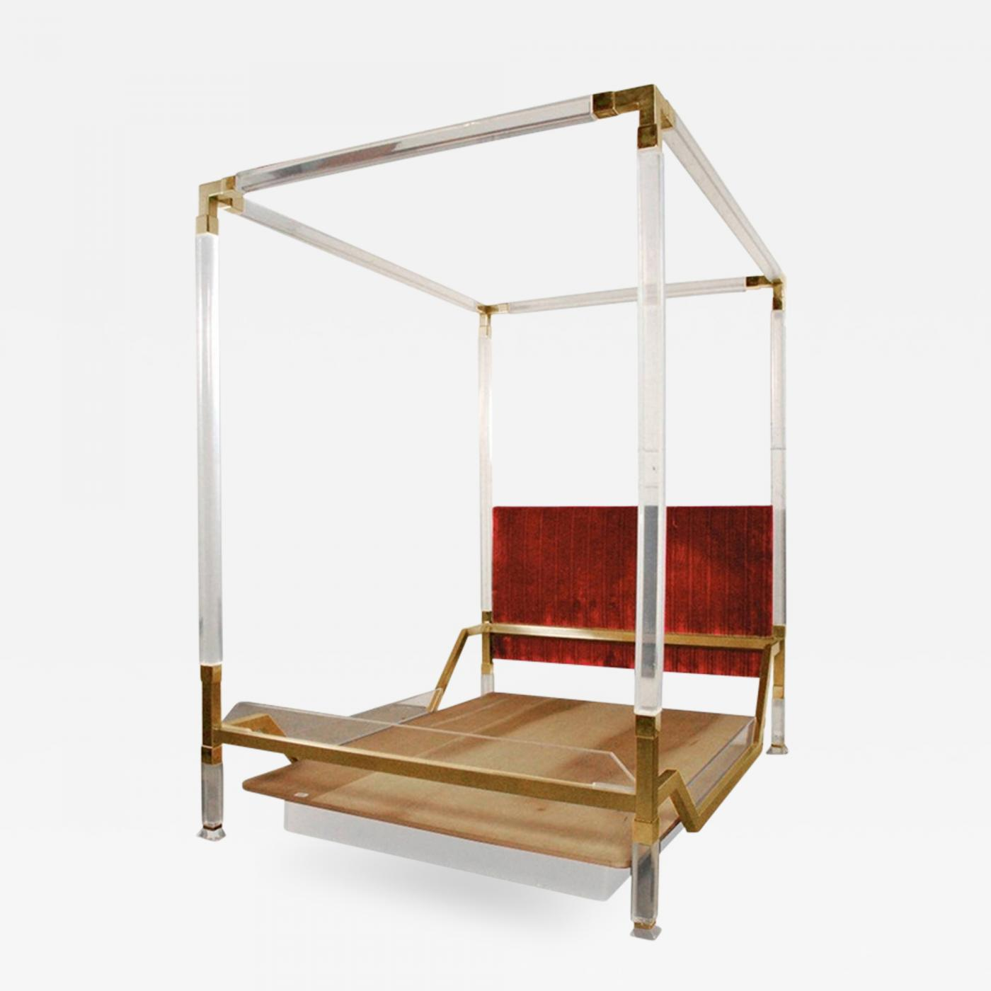 3a46f2e747e7 Vintage Charles Hollis Jones Four Poster King Size Bed in Brass   Lucite