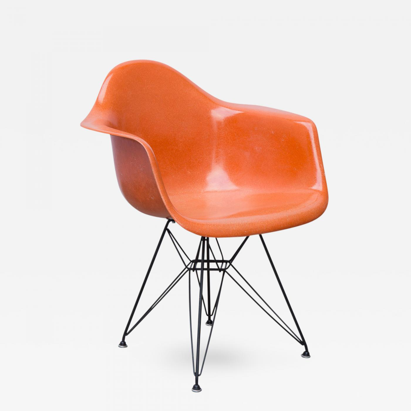 Charles And Ray Eames Eames Molded Fiberglass Armchair In Orange