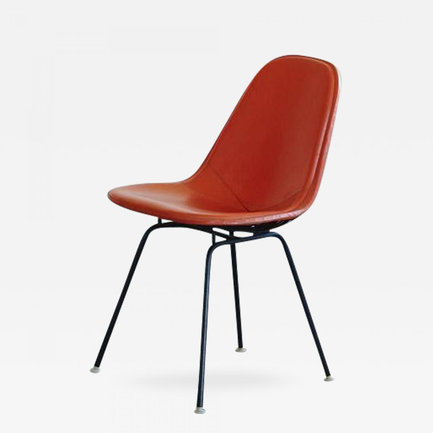 charles ray eames original eames dkx 1 side chair in orange leather for herman miller 1960s. Black Bedroom Furniture Sets. Home Design Ideas