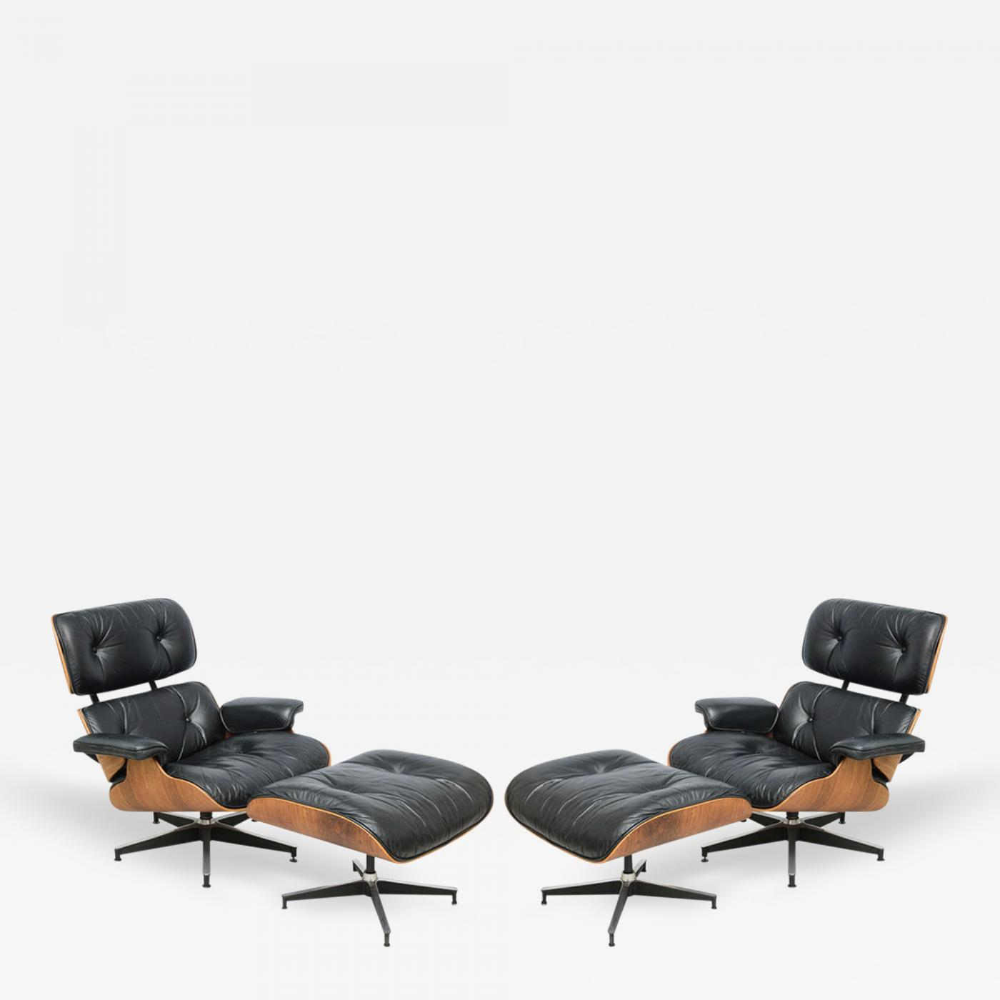 Charles Ray Eames Two Vintage Eames Rosewood And Black