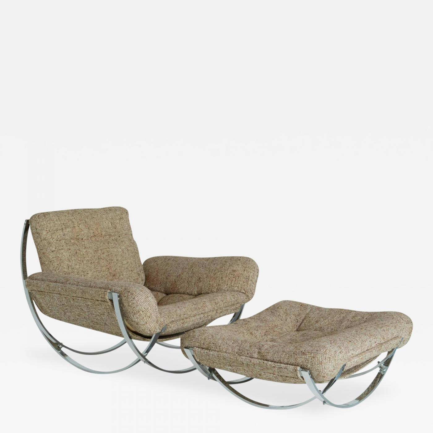Charles Stendig Tan Wool Sculptural Lounge Chair and Ottoman
