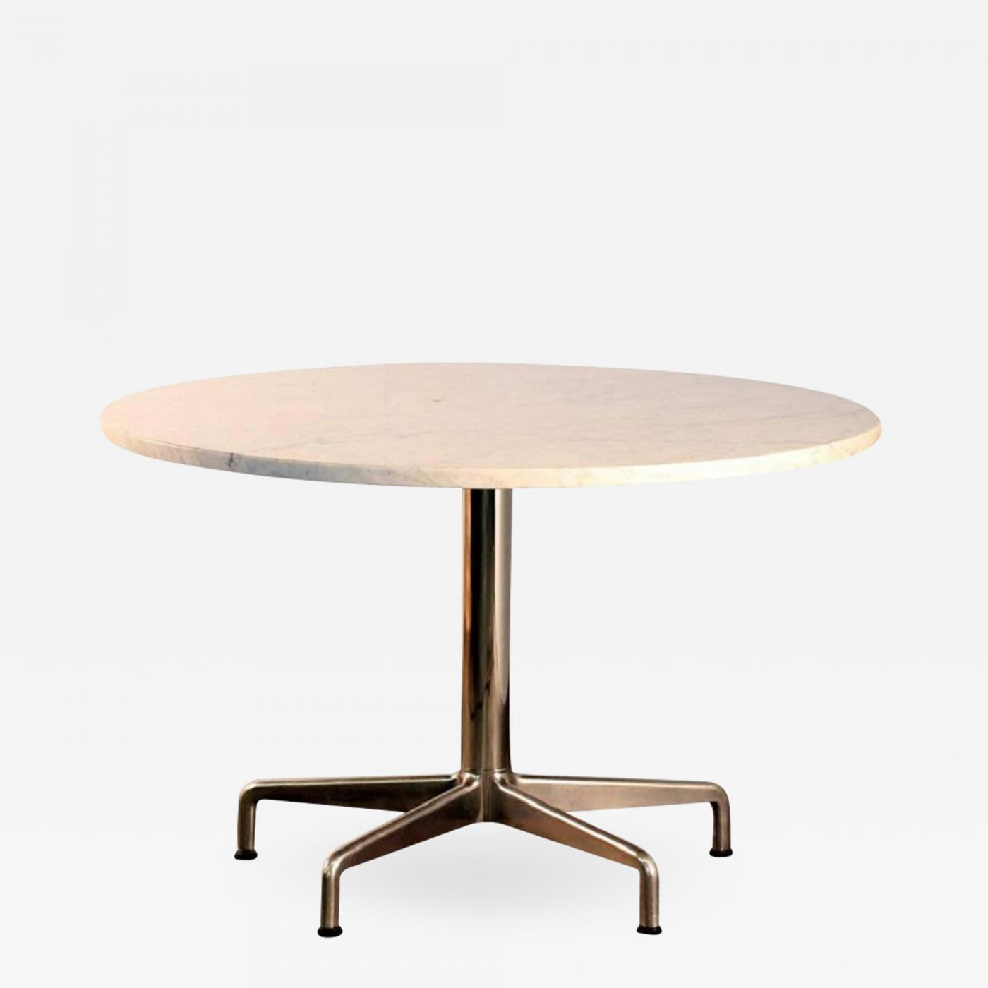 Charles Ray Eames Segmented Base And Marble Top Round Dining Table By Eames For Knoll