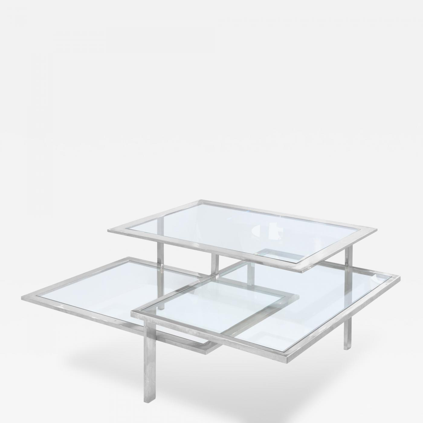 Chic 3 Level Chrome and Glass Coffee Table