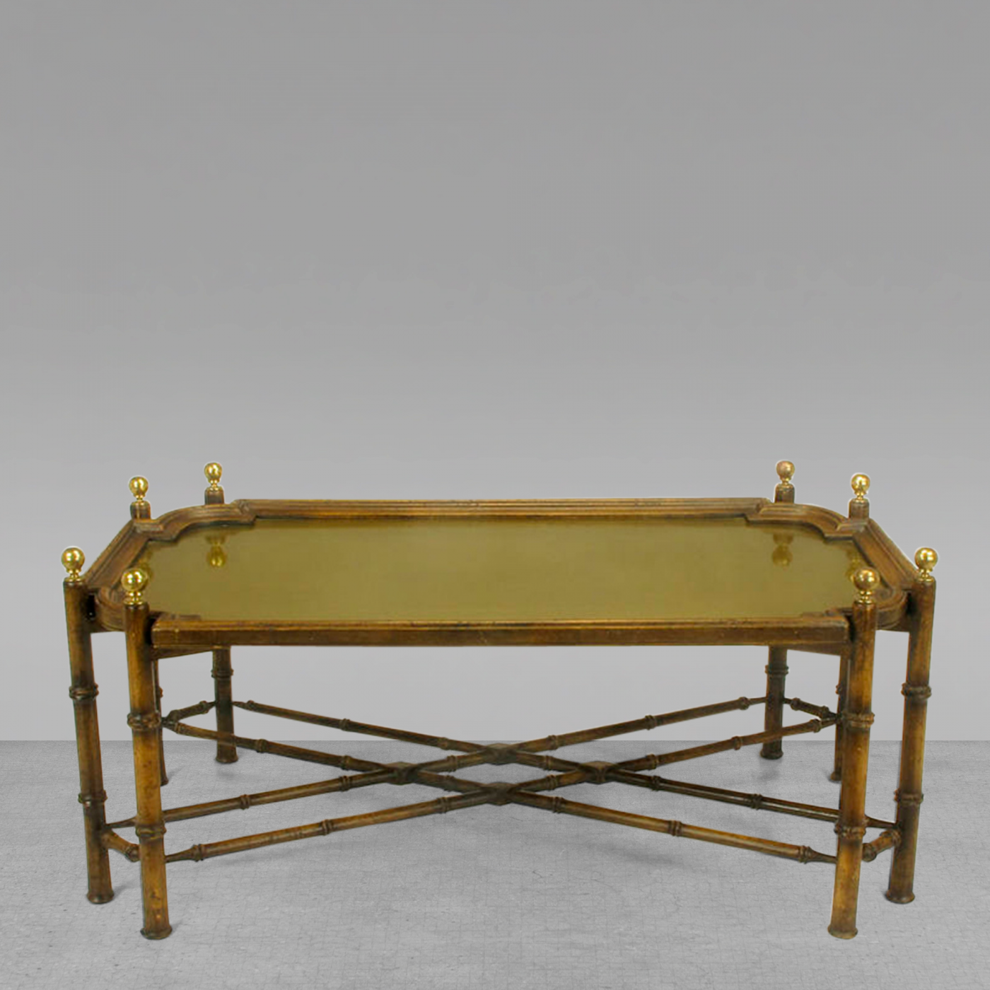 Chinese Chippendale Spanish Made Coffee Table With Removable Brass