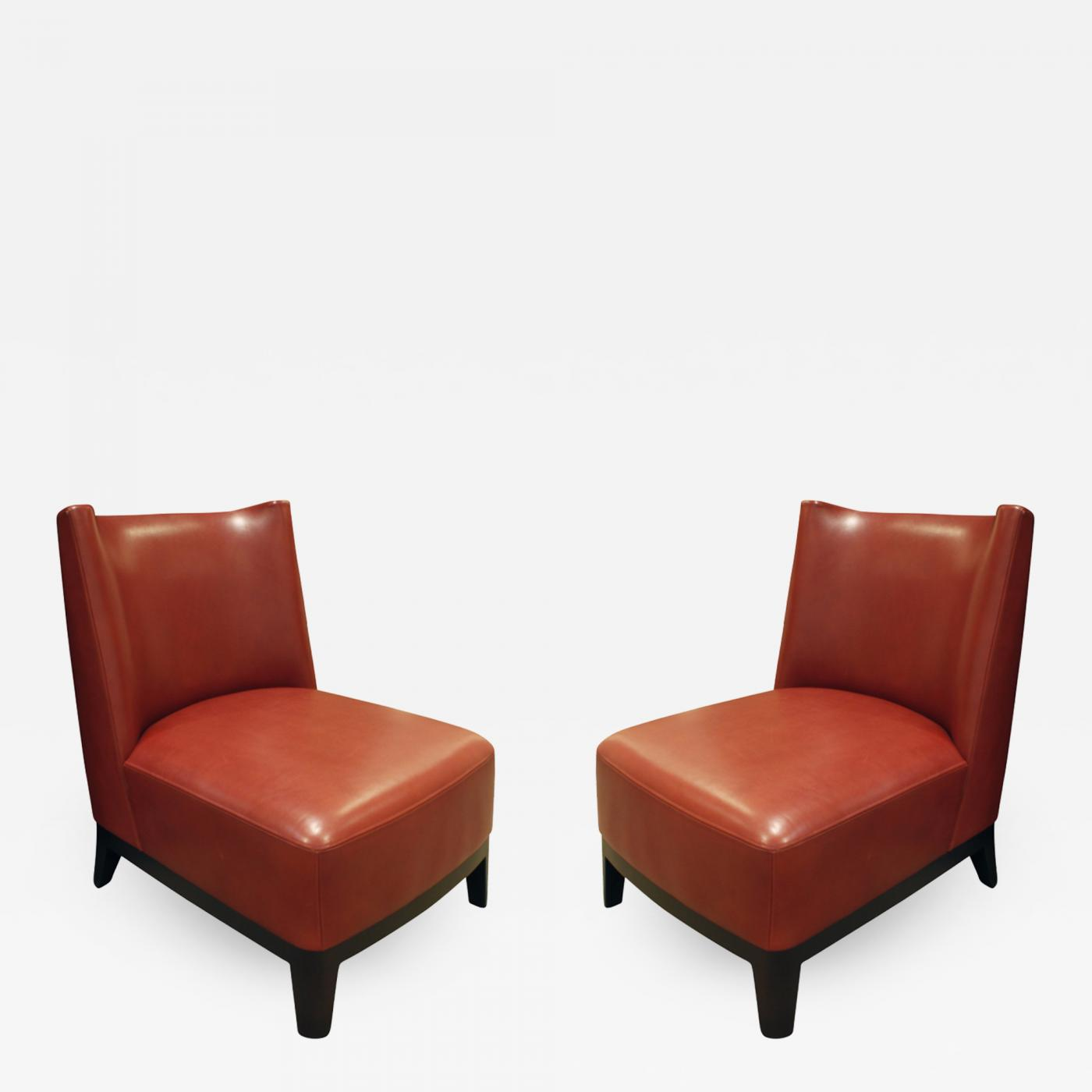 Christian liaigre pair of elegant red leather slipper chairs 2000s signed