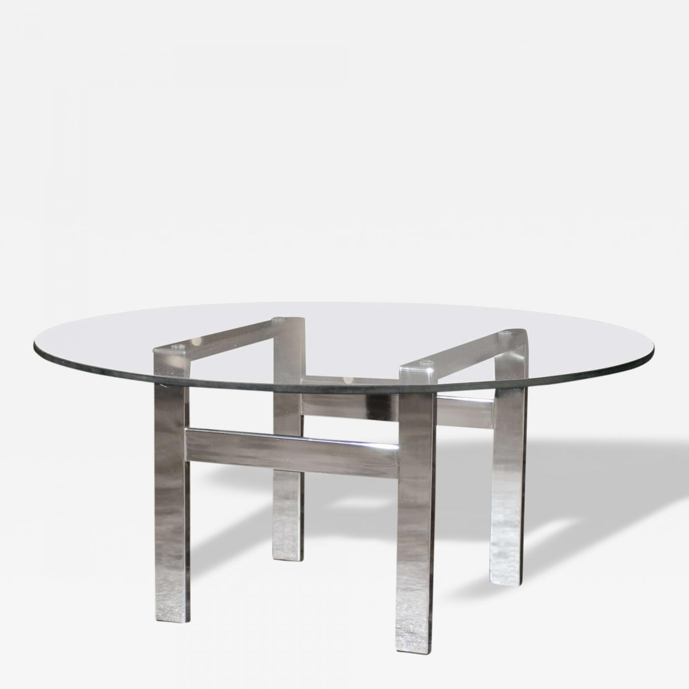 Chrome and Glass Flat Bar Coffee Table in the Style of Milo Baughman