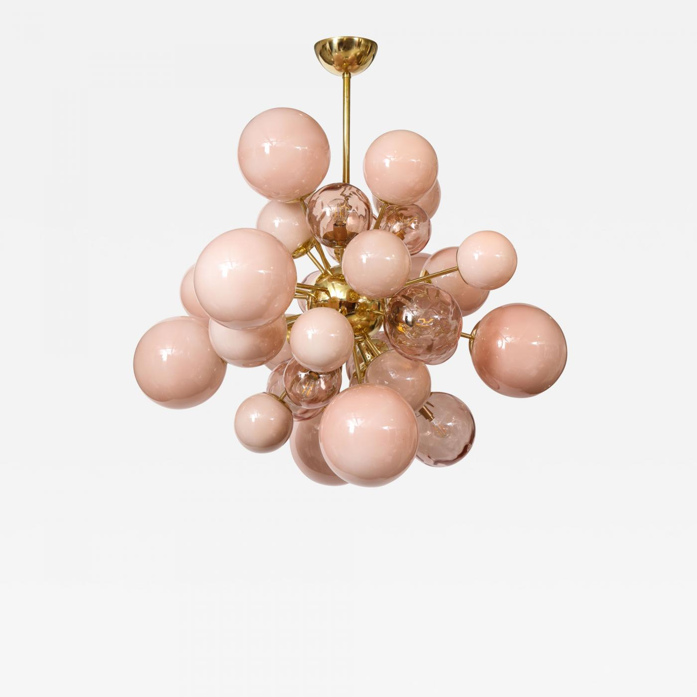 Clear And Opaque Pink Blush Murano Glass And Brass Sputnik Chandelier Italy