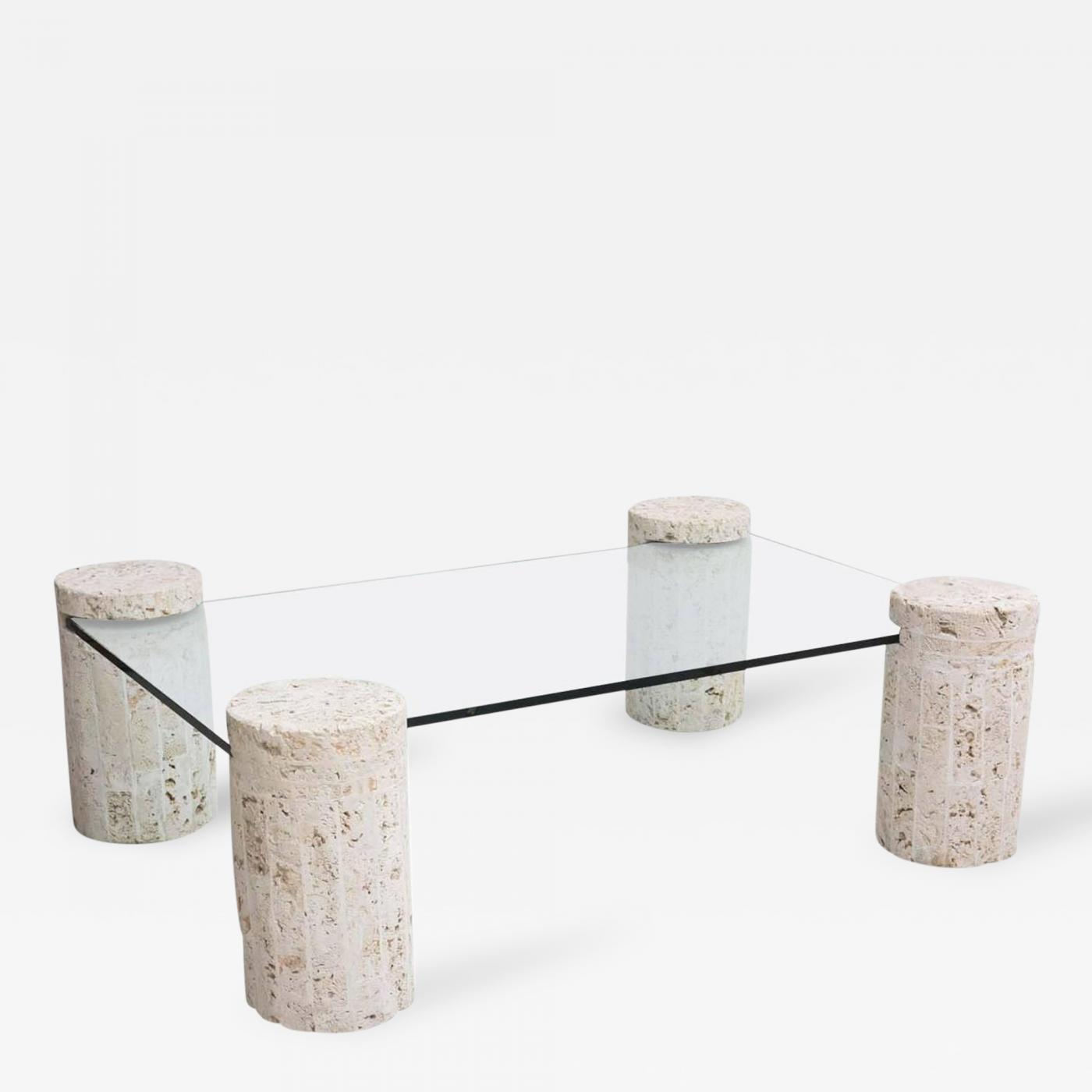 Stone And Glass Coffee Tables: Coral Stone Coffee Table With Glass Top
