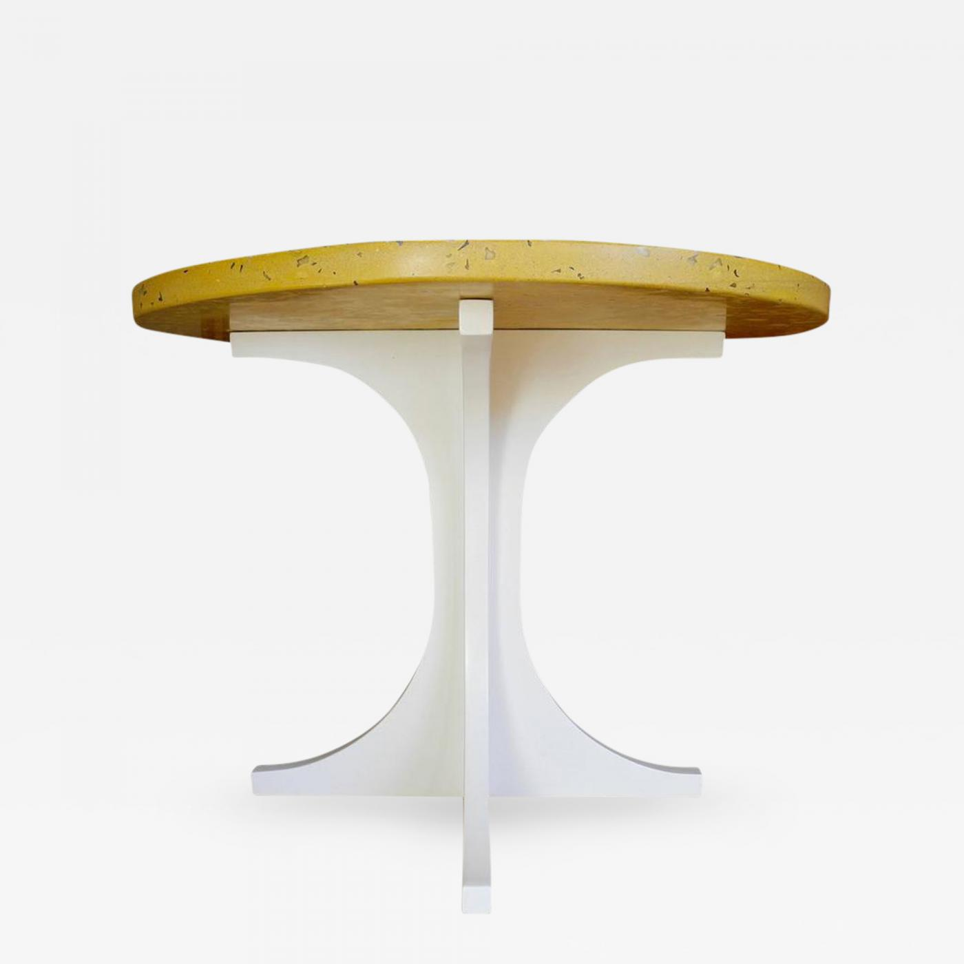 Corinne Robbins Yellow Concrete and Wood Side Table Designed by