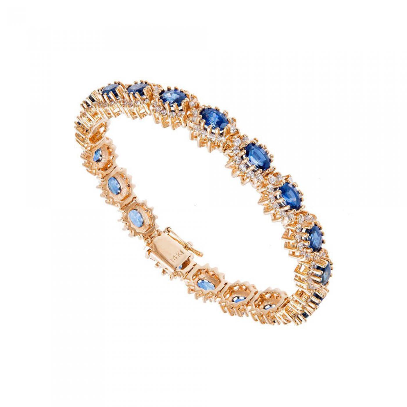 Cornflower Sapphire Diamond Yellow Gold Bracelet