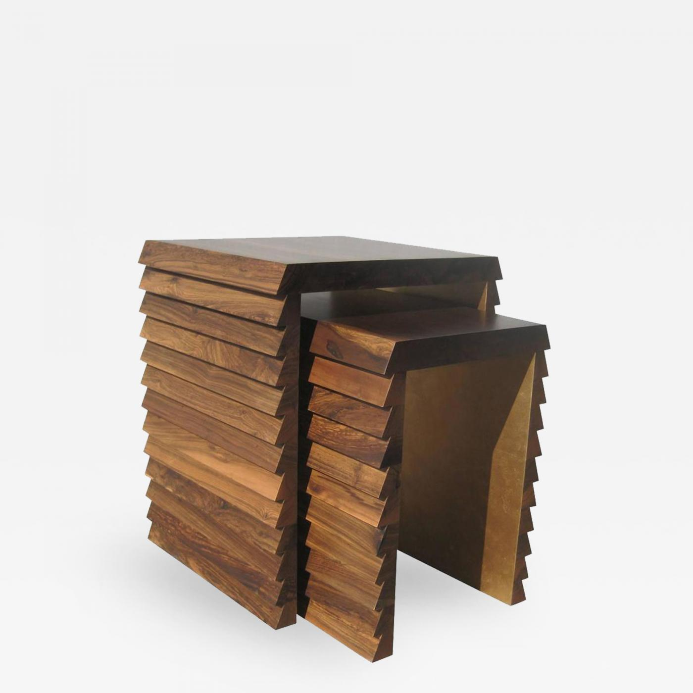 Costantini Design Dorena Modern Nesting Tables In Argentine Rosewood With Gold  Painted Interior