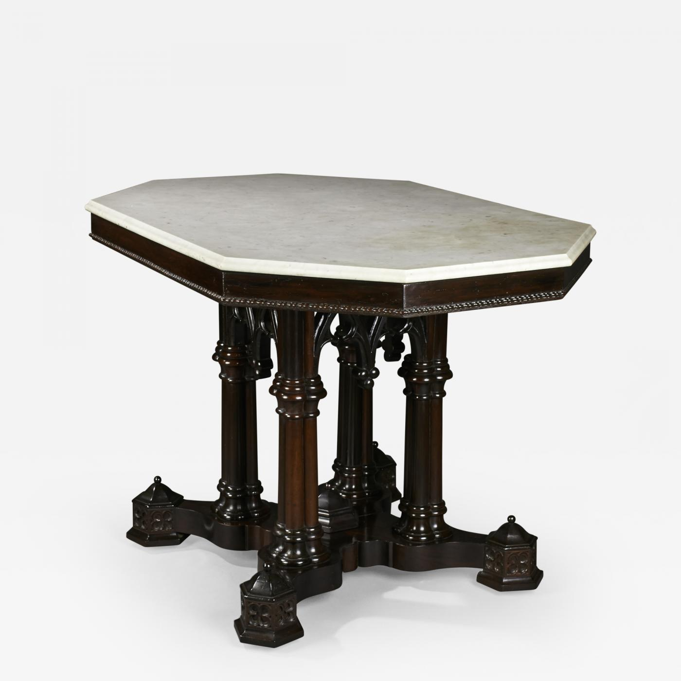 Crawford Ridell Philadelphia Gothic Center Table Circa 1845