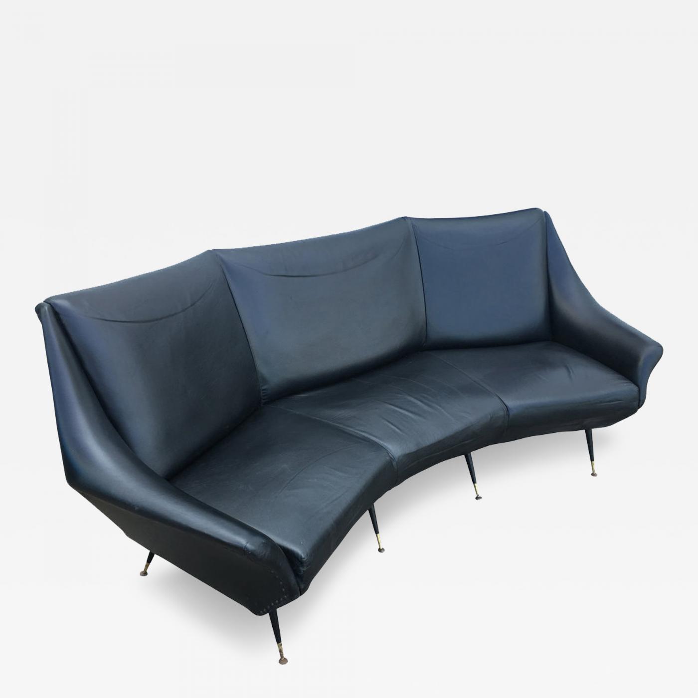 Curved Mid-Century Italian Sofa