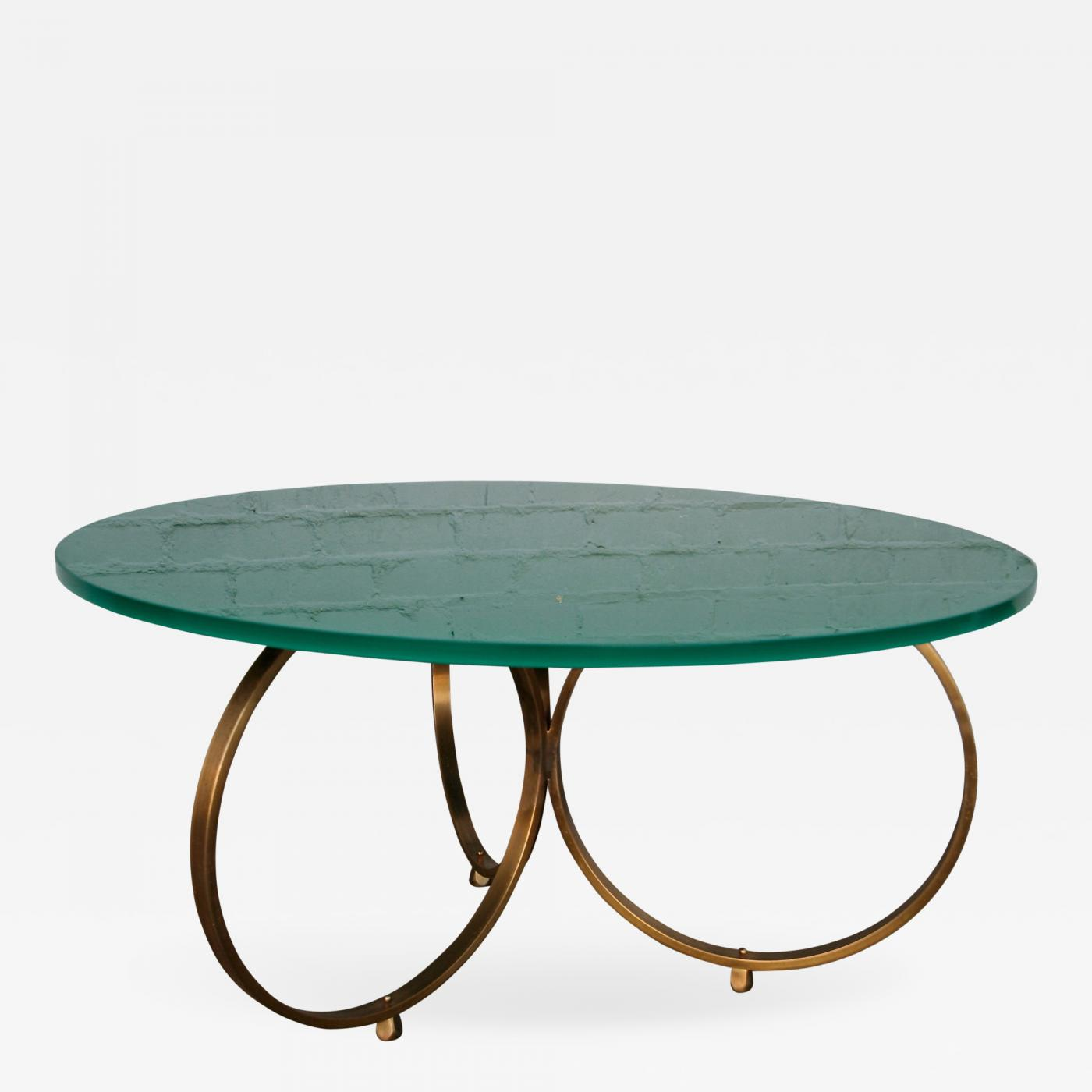 Adesso Studio Custom Isay Brass Coffee Table With Reverse Painted Glass Top