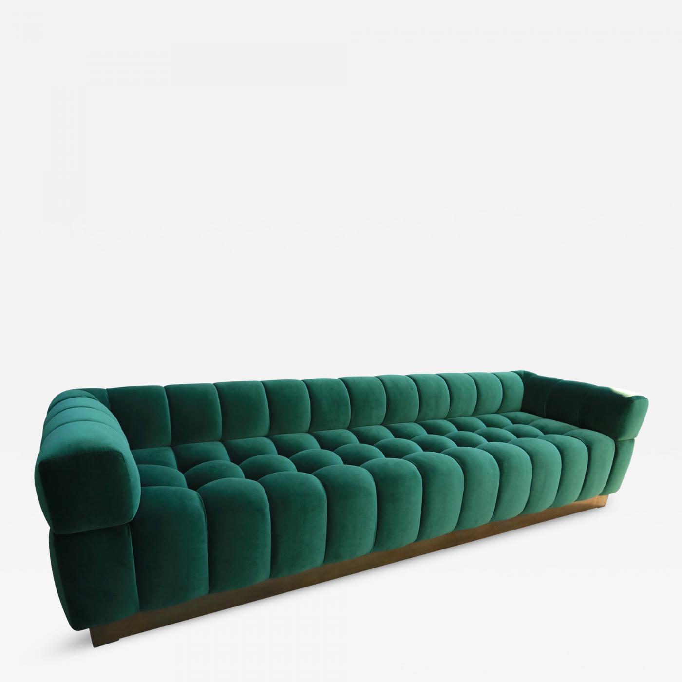 Custom Tufted Green Velvet Sofa with Brass Base