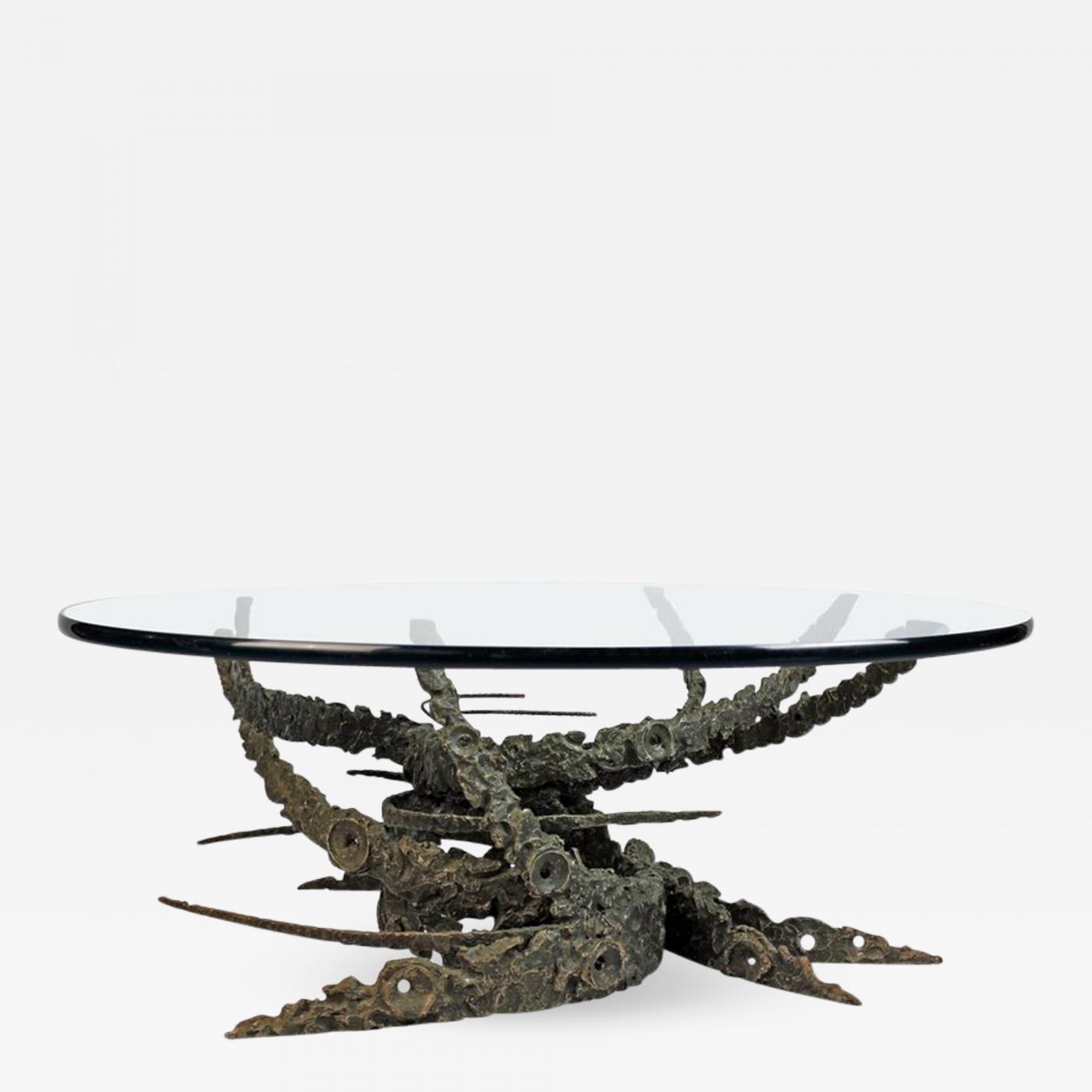 Daniel Gluck Cast And Welded Sculptural Bronze Round Swirl - Welded coffee table