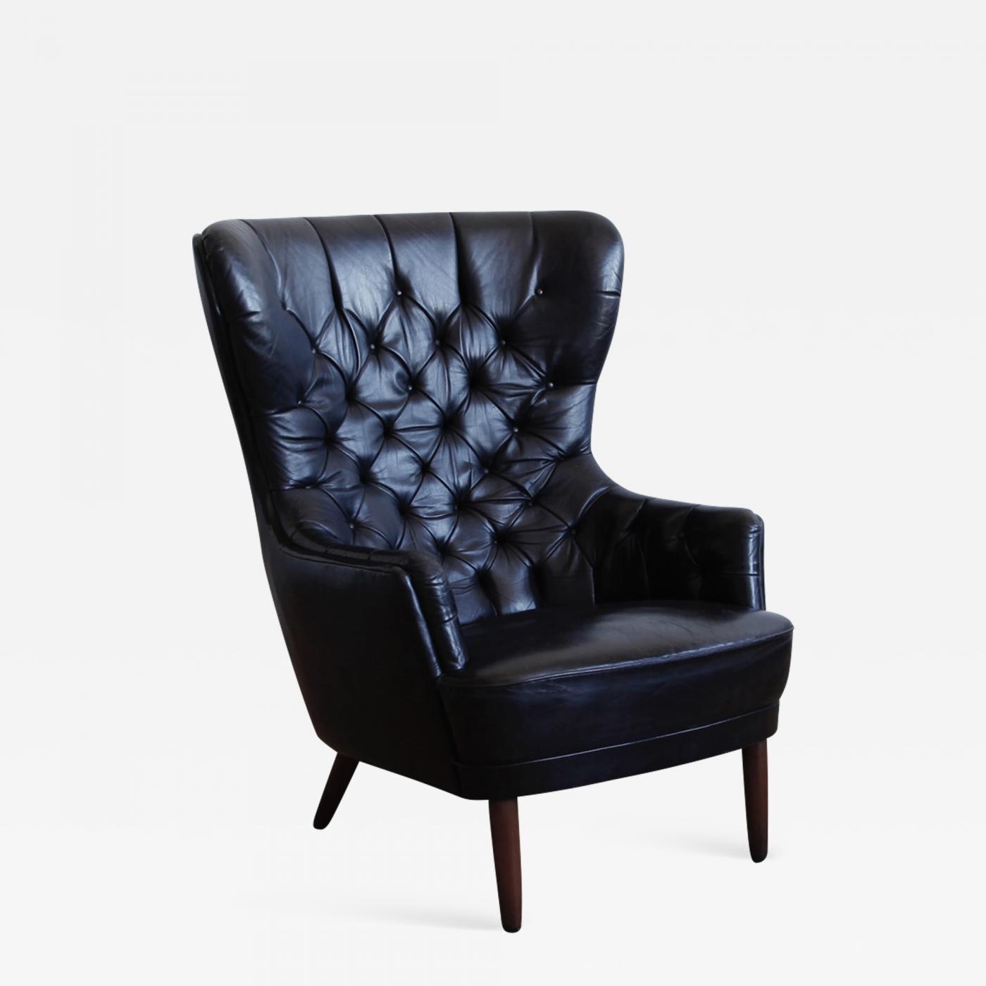 Super Danish Black Leather Wingback Chair Machost Co Dining Chair Design Ideas Machostcouk