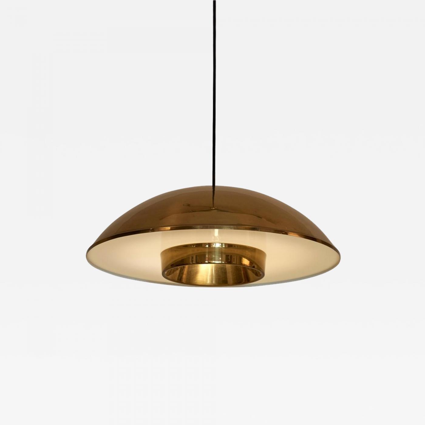 Danish Brass Pendant Lamp With Perspex Shade