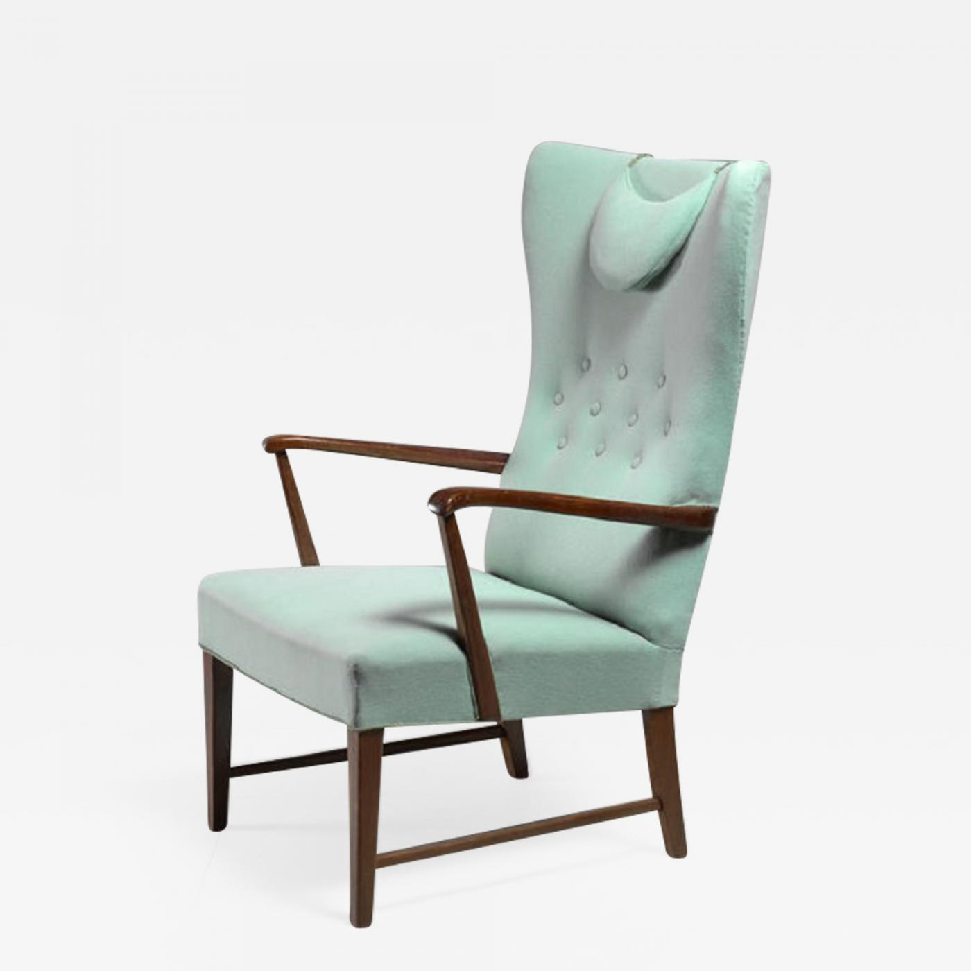 Astounding Danish High Back Lounge Chair With Mint Green Wool Spiritservingveterans Wood Chair Design Ideas Spiritservingveteransorg