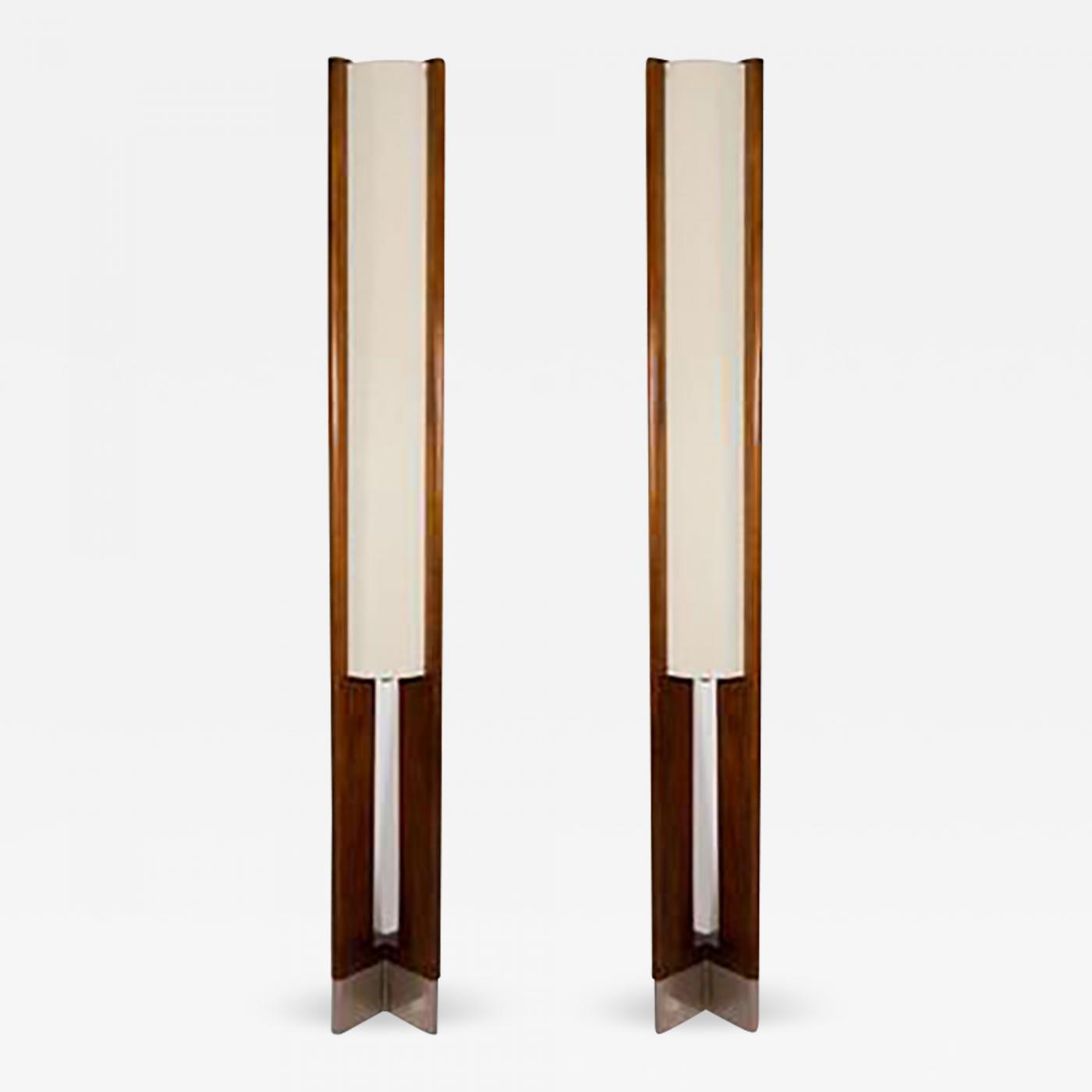 Danish Modern Pair Of Tall Wooden Floor Lamps