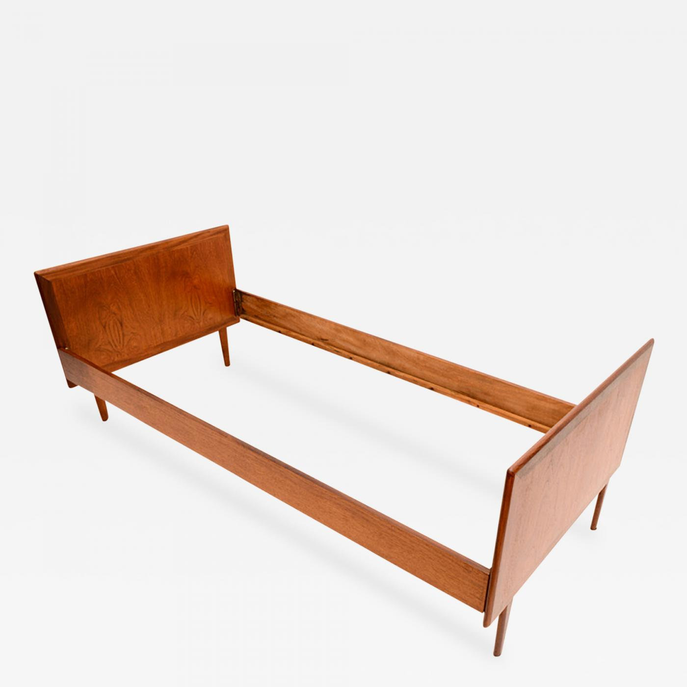 Danish modern teak single twin bed mid century period in for Mid century style bed
