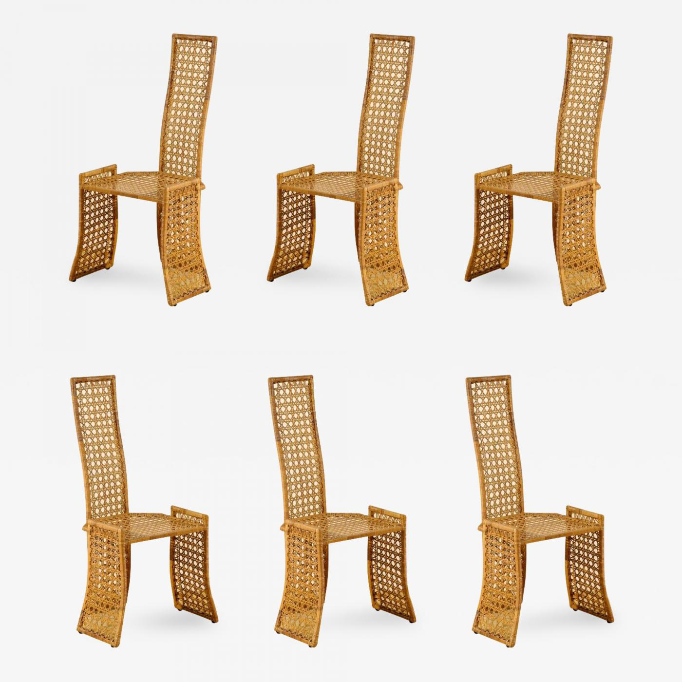 Danny Ho Fong - Fabulous Set of Six Rattan Dining Chairs by Danny ...