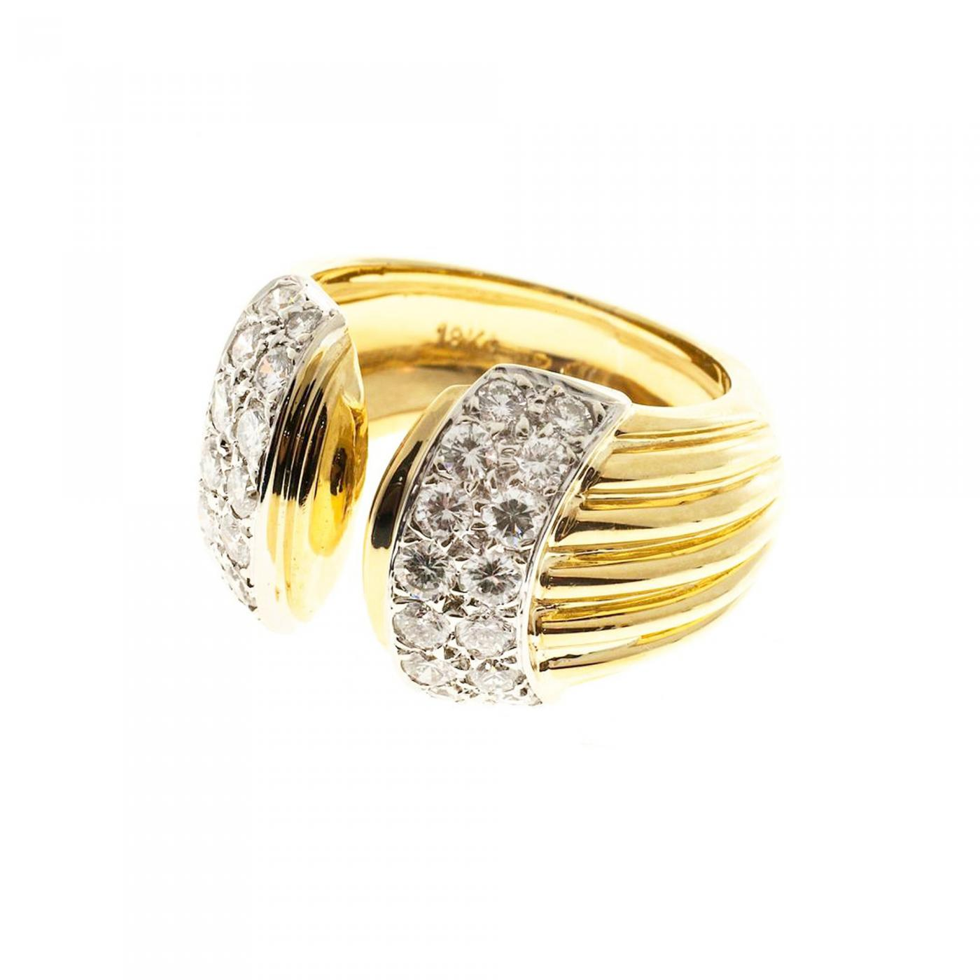 open ribbed gold cocktail ring