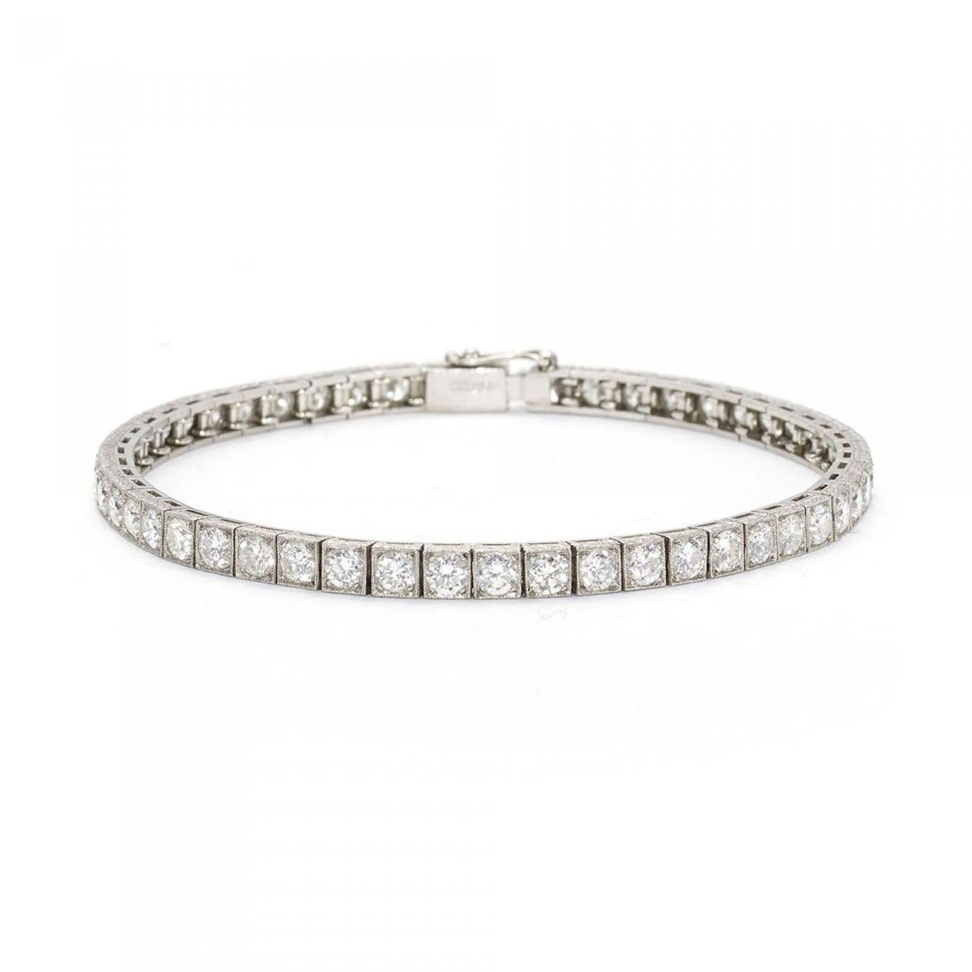 diamond platinum line bracelet