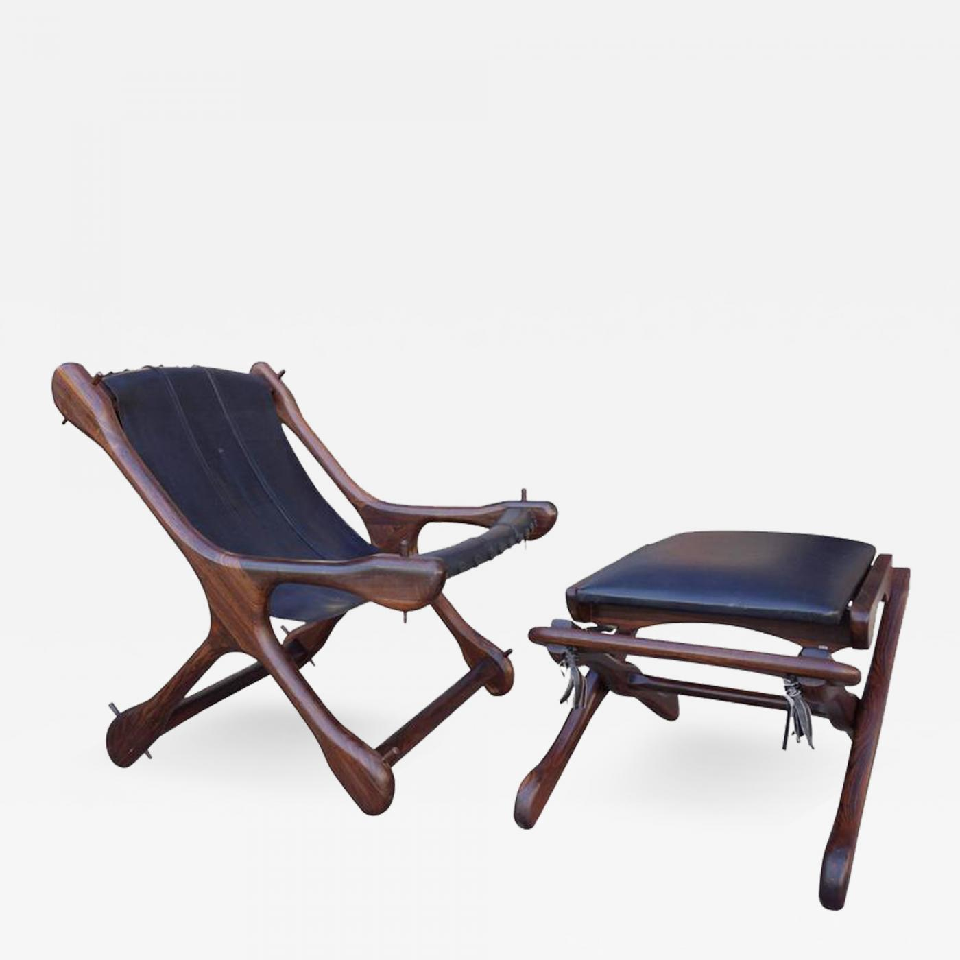 Marvelous Don Shoemaker Mid Century Don Shoemaker Leather Sling Chair And Ottoman In Rosewood Uwap Interior Chair Design Uwaporg