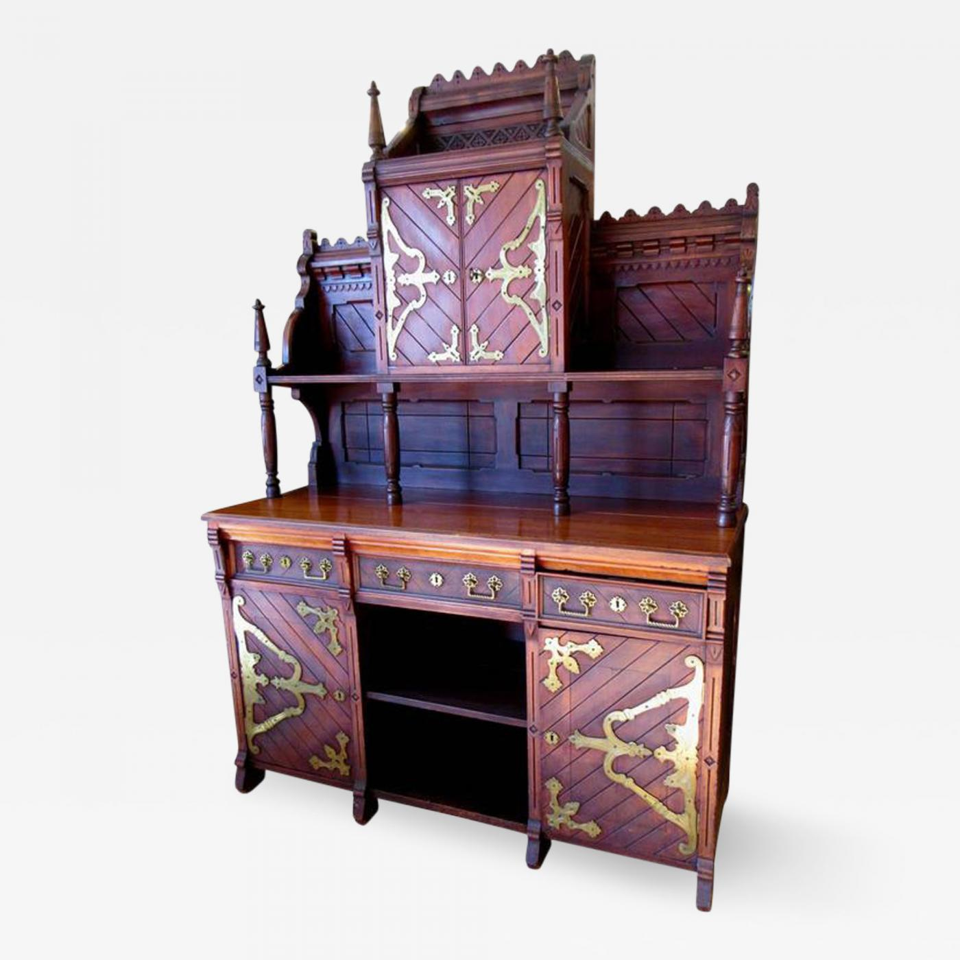 E Edwards Ficken Victorian Gothic Revival Buffet in the