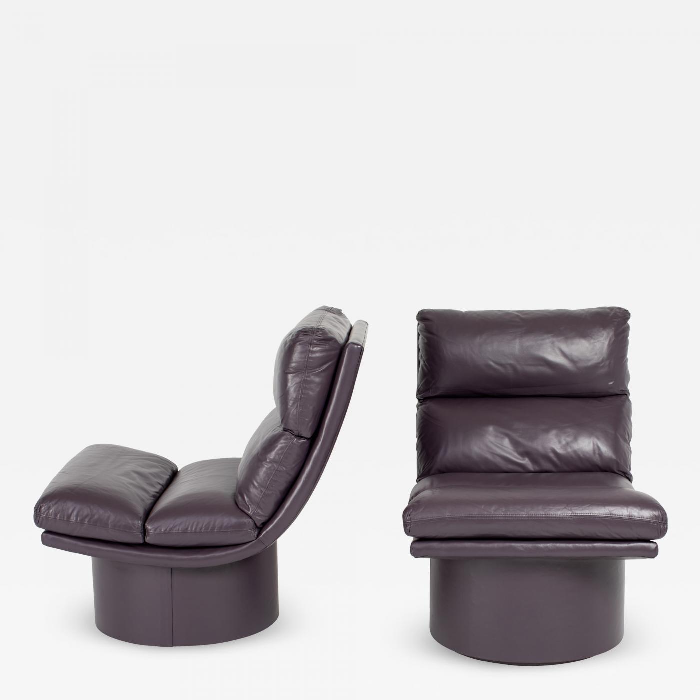 Enjoyable Eggplant Leather Scoop Chairs On Swivel Bases Circa 1980S Evergreenethics Interior Chair Design Evergreenethicsorg