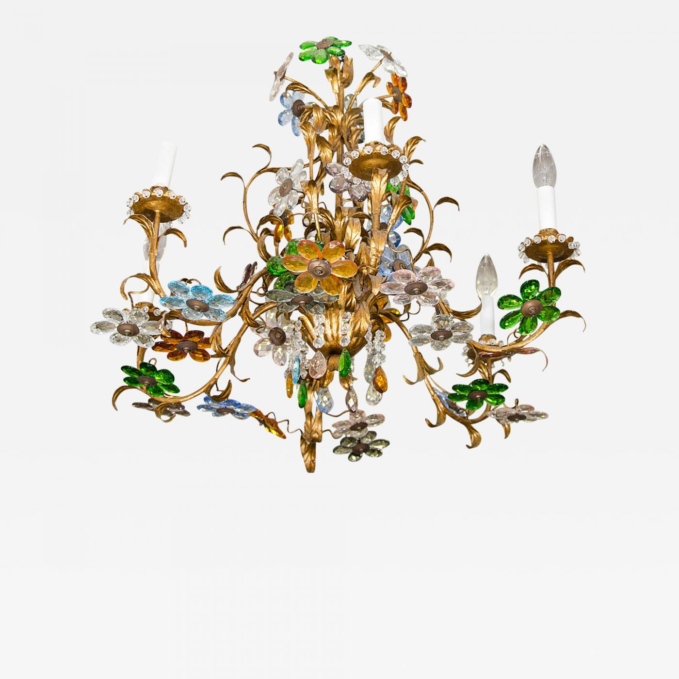 Image of: Exceptional Mid Century Italian Chandelier With Colorful Crystal Flower Clusters
