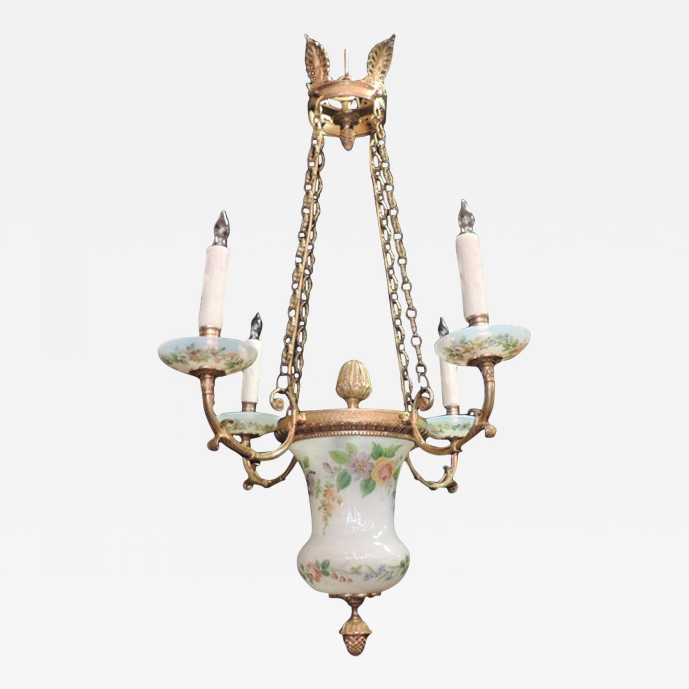 Early 19th C Russian Empire Opaline and Bronze Chandelier