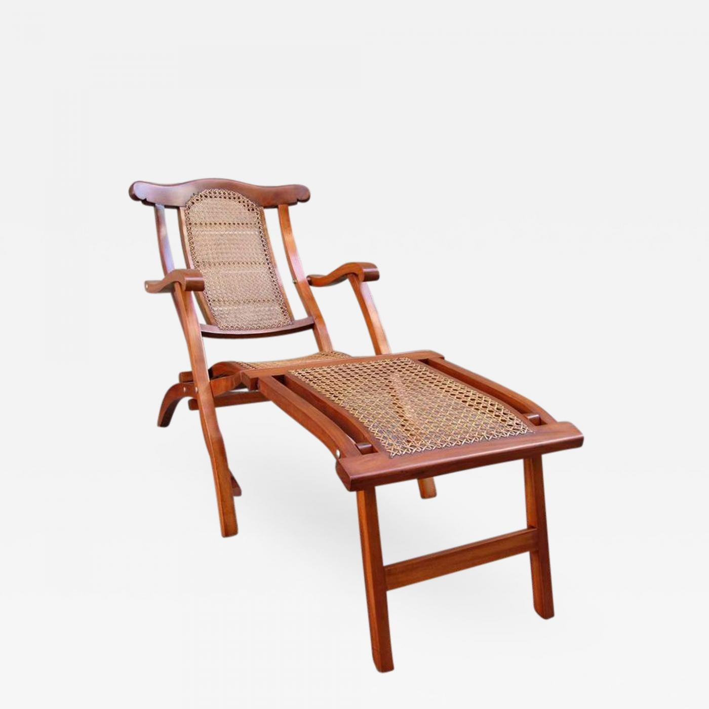 Early 20th Century Caribbean Martinique Mahogany And Cane Folding Deck Chair