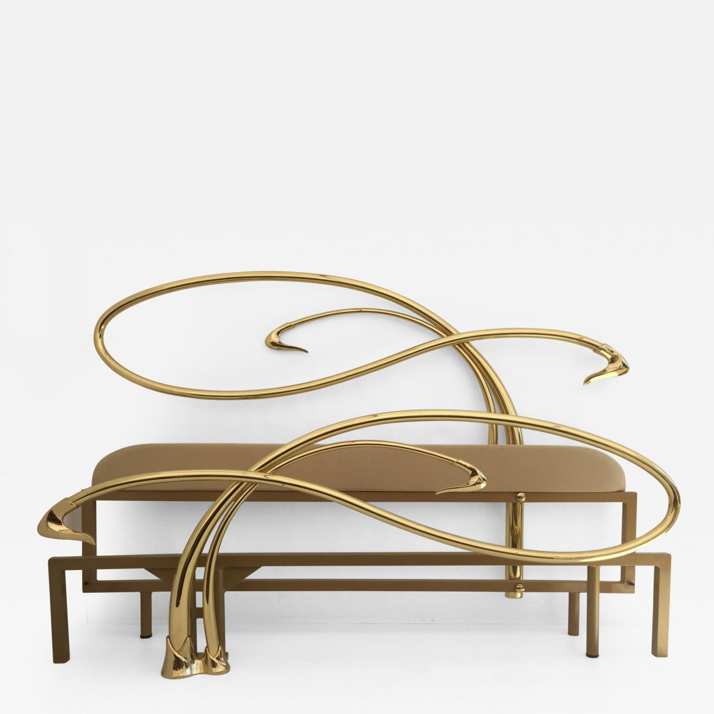 Edgar Brandt Art Nouveau Style Brass King Size Bed. Tap To Expand