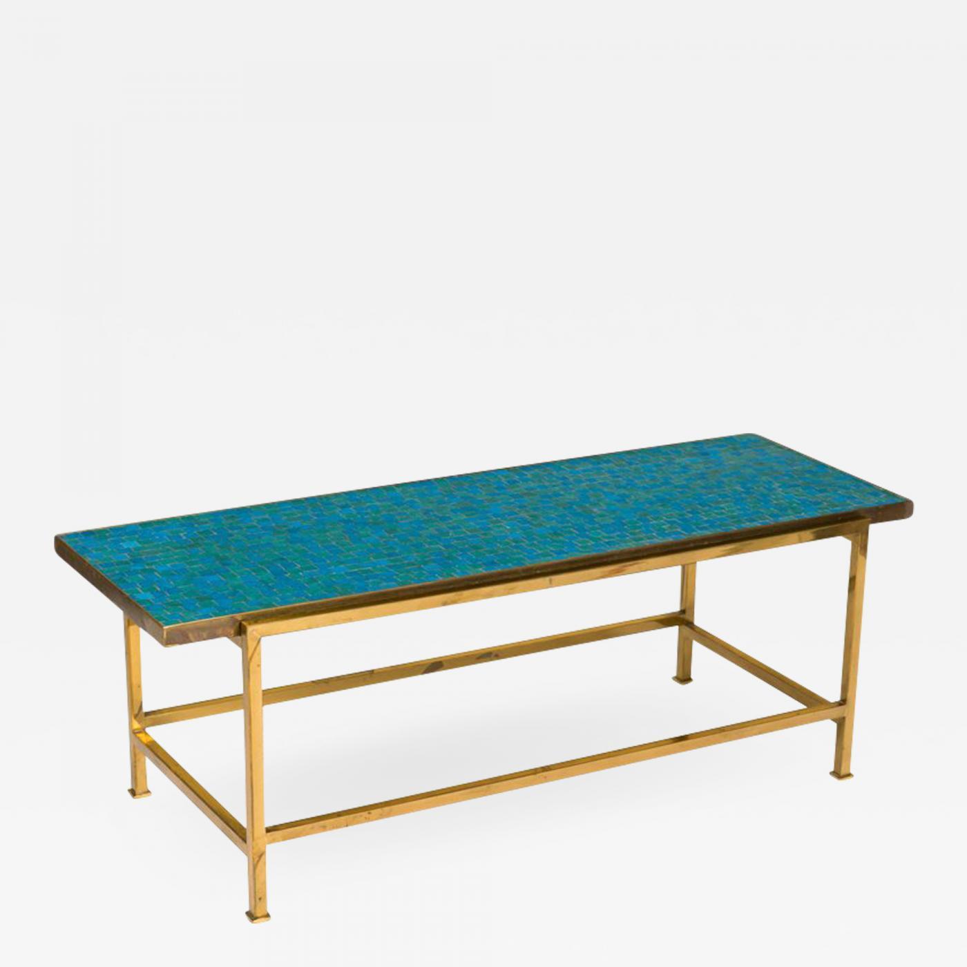 Dunbar Murano Glass Tile Top Brass Coffee Table By Edward