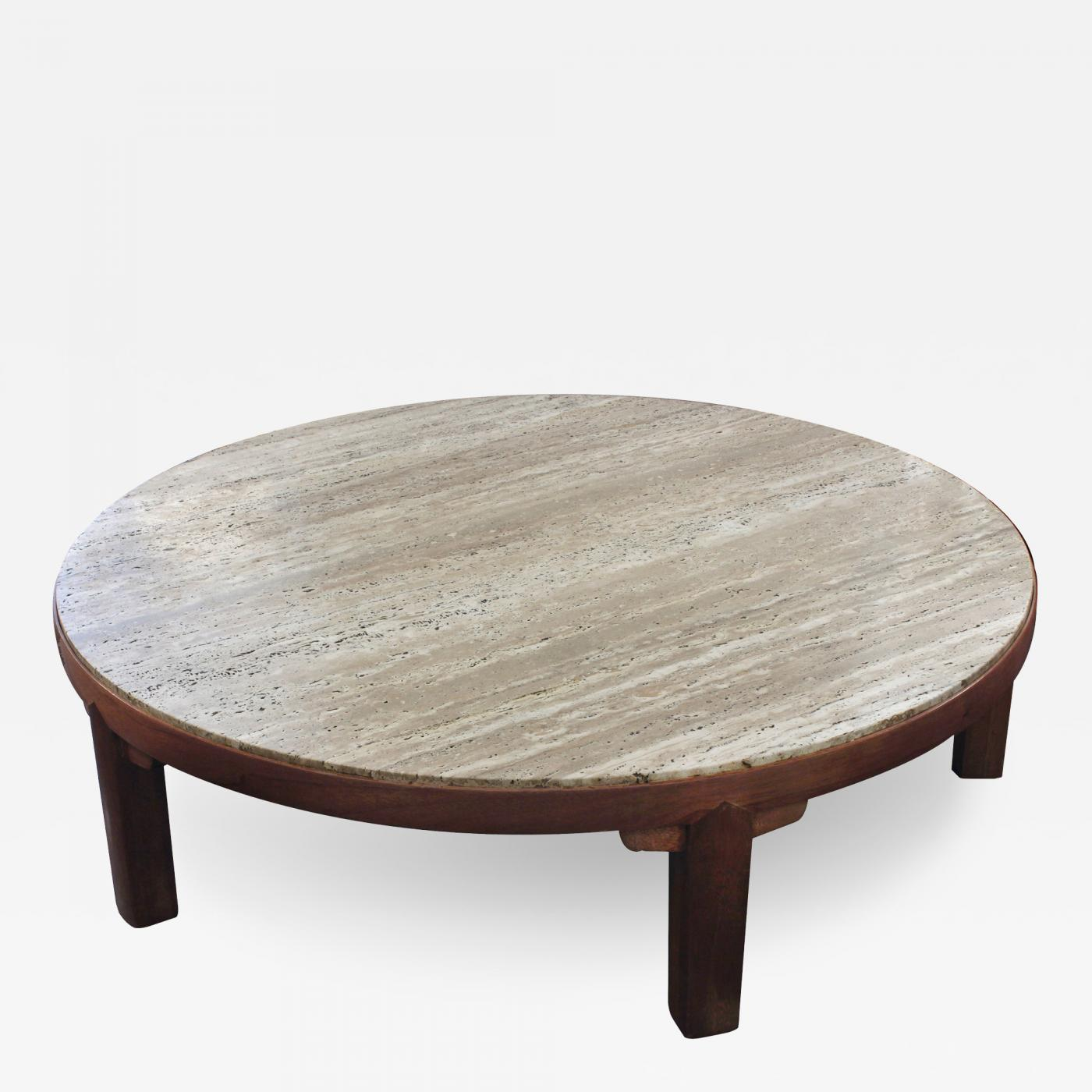 Edward Wormley Coffee Table with Travertine Top by Edward