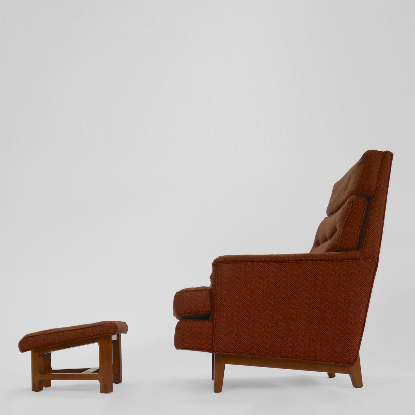 Edward J Wormley Lounge Chair and Ottoman by Edward Wormley for