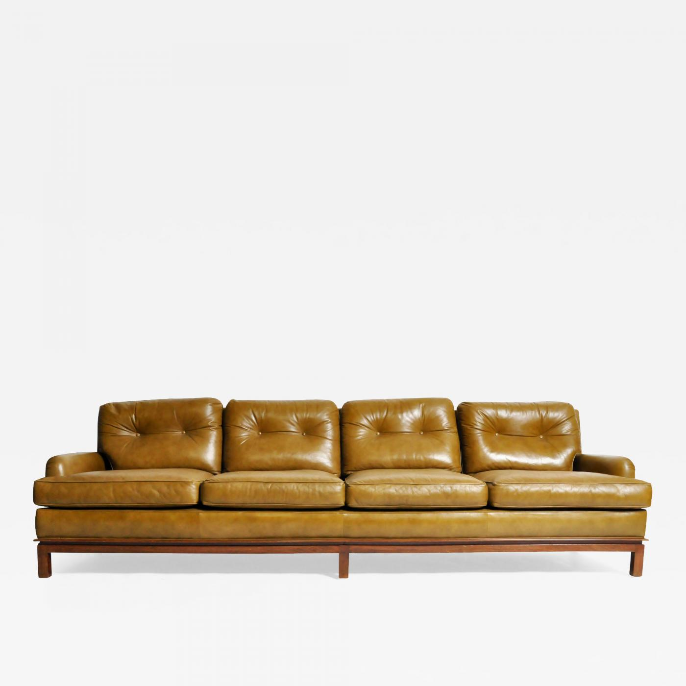 Edward Wormley - Mid-Century Modern Green Leather Sofa with Hardwood Base  by Edward Wormley