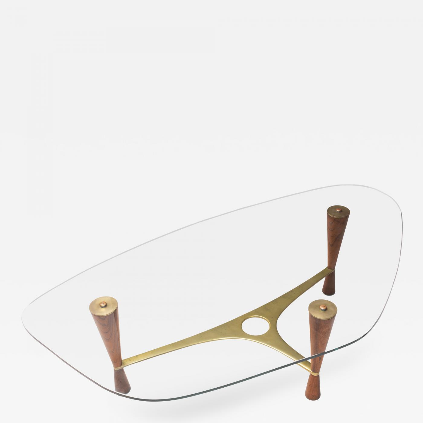 Edward Wormley Model 5309 Brass Rosewood Glass Coffee Table by