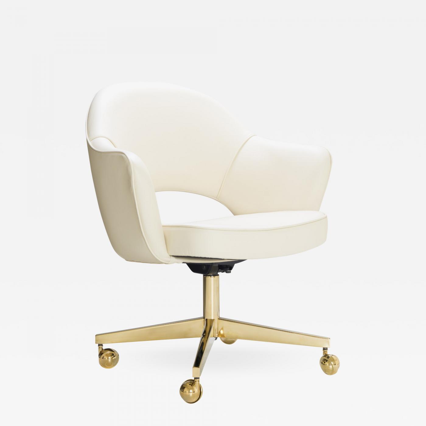Eero Saarinen Saarinen Executive Arm Chair In Creme Leather Swivel Base 24k Gold Edition