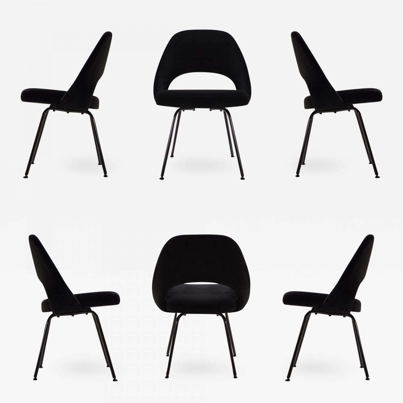 Eero Saarinen Saarinen Executive Armless Chairs Black Edition Set Of 6