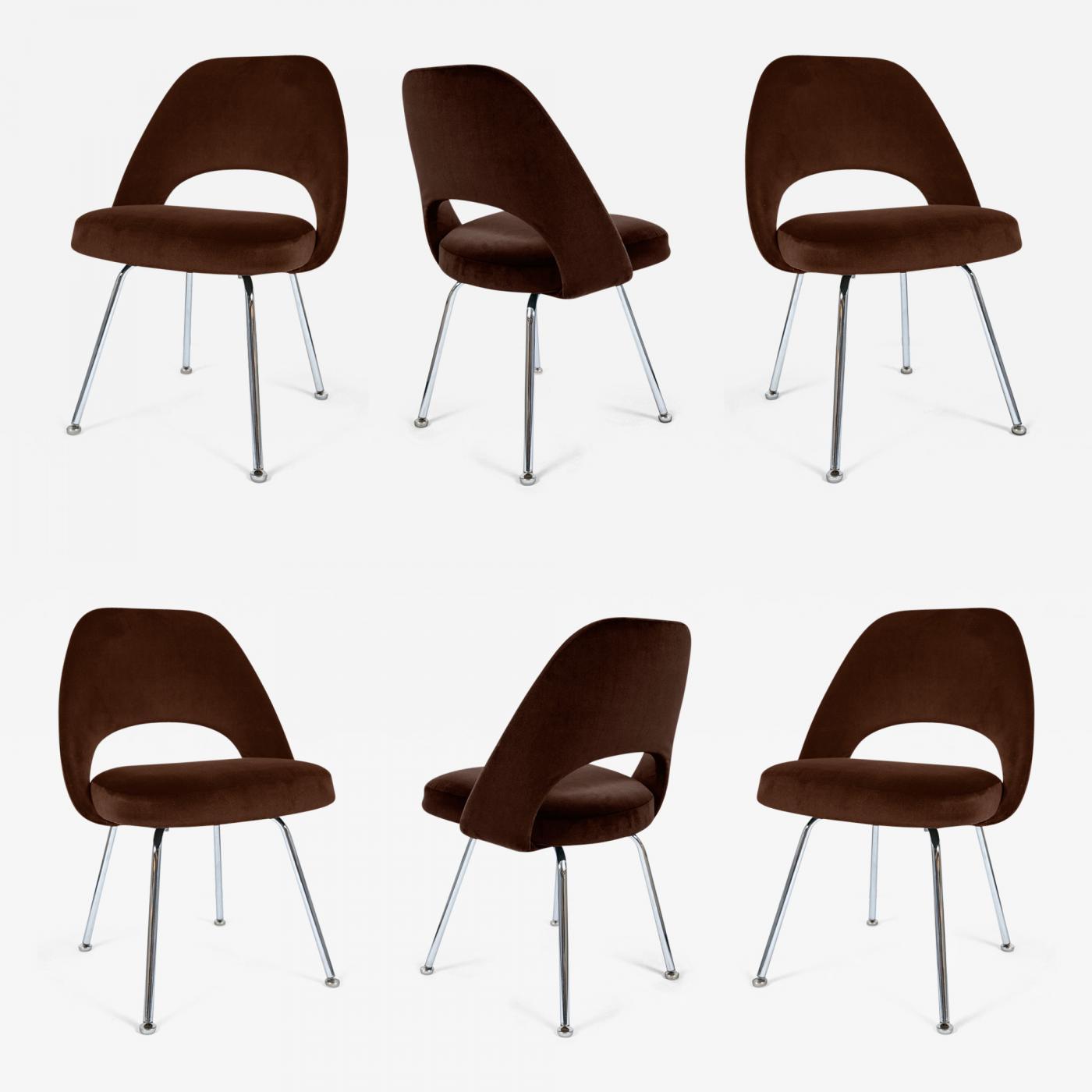 Eero Saarinen Saarinen Executive Armless Chairs In Espresso Brown Velvet Set Of Six