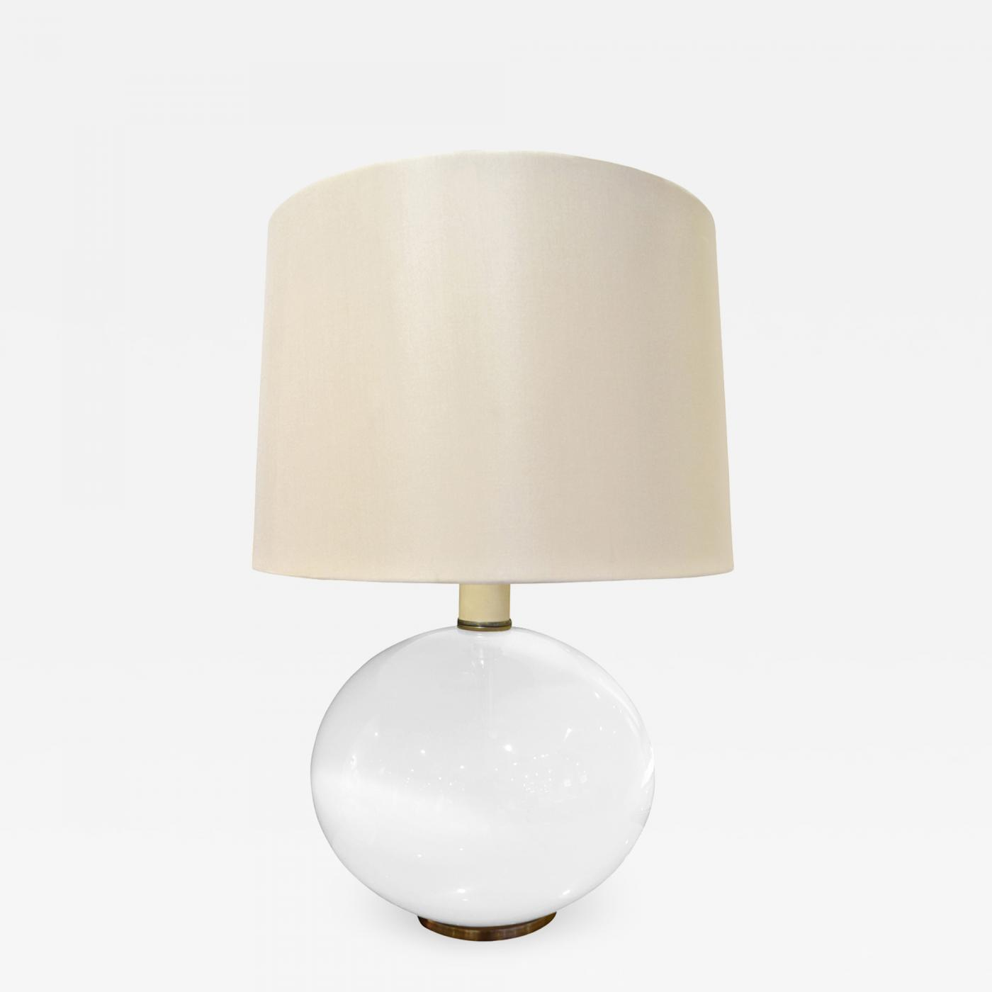 Picture of: Elegant Table Lamp In White Glass With Brass Base 1960s