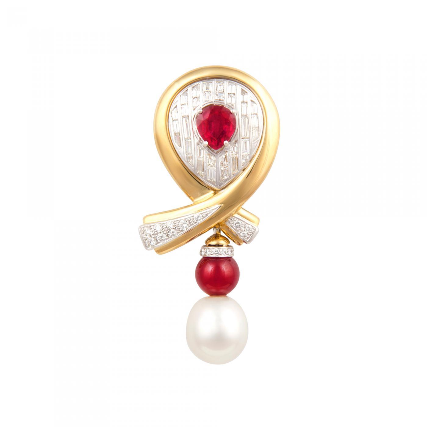 5982a096c3e Ella Gafter - Ella Gafter Ruby Pearl Diamond Bow Brooch Pin